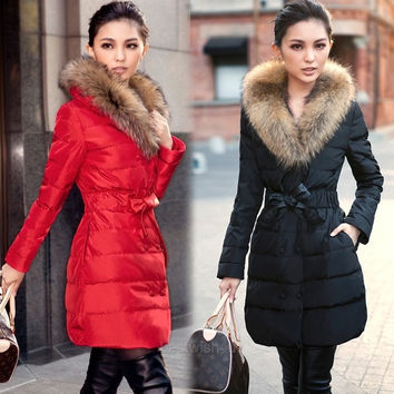 New Winter Coat Double Breasted Raccoon Fur Collar Warm Down Jacket Women's Good B_W = 1930086916