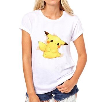 Pikachu New Arrivals Women Fashion T-shirt Short Sleeve t shirts Pokemon Go Spirits Printed Funny Comics tee tops