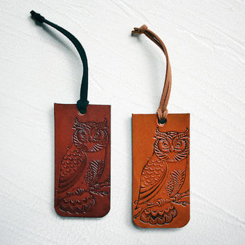 Owl Luggage Tag - Genuine Leather Luggage Tag - Your Choice of Stain and Lace Color - Wanderlust