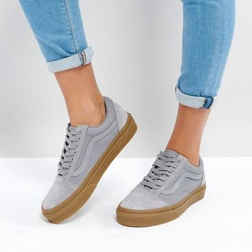Vans Suede Old Skool Trainers In Grey With Gum Sole at asos.com