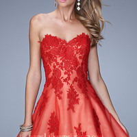Strapless Sweetheart Lace La Femme Dress