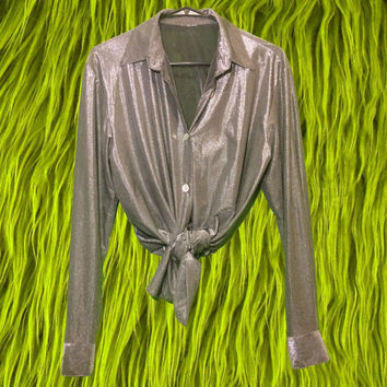 90's Club Kid Sheer Blouse / Retro Metallic Silver Disco Button Up Shirt / Minimalist Rave Shiny Top / Shimmery 1990's Futuristic Cyber