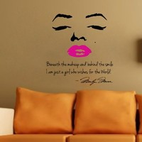 Marilyn Monroe Wall Decal Decor Quote Face PINK Lips Large Nice Sticker