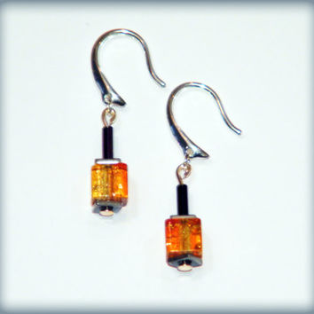 IronPride earrings.. Gay Pride earrings with rainbow glass cube beads, haematite beads, rainbow sheen tube beads and nickel-free ear wires