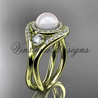 14kt yellow gold unique diamond Three stone Pearl engagement ring VP8245