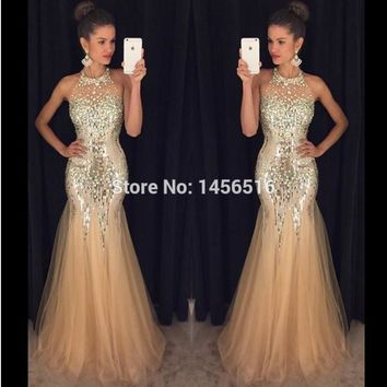 Sparkly Mermaid Sequin Prom Dresses Long vestidos de baile Crystal 2017 Formal Evening Party Gowns 1701209W