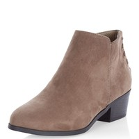 Wide Fit Brown Suedette Tassel Ankle Boots