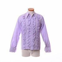 Vintage 60s 70s Lavender Ruffle Tuxedo Shirt 1960s 1970s Cassino Sanforized New Wave Wedding Party Prom Disco Dress Shirt / Mens S to M