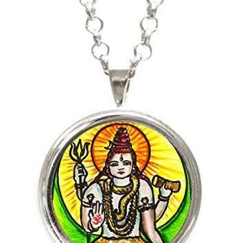 God Shiva of Supreme Consciousness Silver Pendant with Chain Necklace