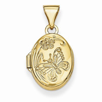 14k Yellow Gold Floral & Butterfly Locket