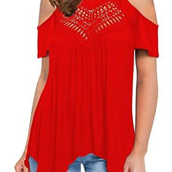 MIHOLL Women's Casual Tops Lace Off Shoulder Short Sleeve Loose T-Shirts Blouse