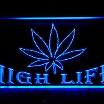 ADV PRO 403-b Marijuana Hemp Leaf High Life Bar Neon Light Sign