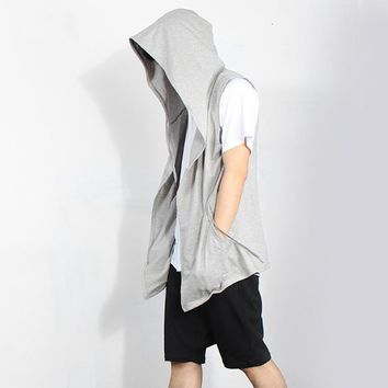 Hip Hop Assassin Creed Hoodies Sweatshirts Men Black Cloak Men Sleeveless Outwear Streetwear Style Hooded Male Coat Jacket