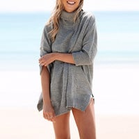 Grey Batwing Sleeve Side Slit Turtleneck Knit Sweater