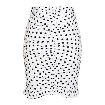 Round and Round Ruched Polka Dot Skirt