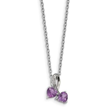 Sterling Silver Sterling Silver & Amethyst and Diamond Heart Necklace 17 Inch