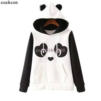 Women's Panda Fleece Pullover Hoodie Sweatshirts Jumper Hooded Coat Tops