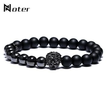 Noter Animal King Lion Bracelet Black Charms Natural Stone Beads Asymmetry Braclet For Men Punk Jewelry Pulseira Masculina
