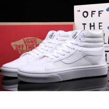 """""""vans"""" Classic tending leather hollow zipper high top casual shoes Full white"""