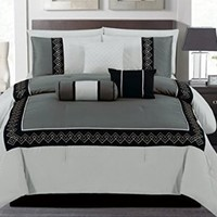 7 Pieces Luxury Black, Silver and Grey Quilted Comforter Set / Bed-in-a-bag Queen Size Bedding