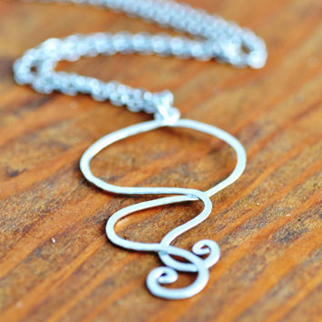 Silver Curly Wire Necklace - wire necklace, abstract design necklace