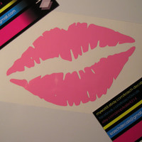 1 Large Kiss Lips Vinyl Decal (5 inch)