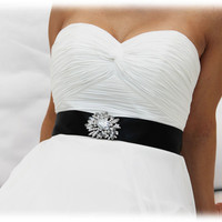 Bridal sash, crystal sash, ribbon sash, rhinestone belt, wedding accessory,Black bridal sash, bridal belt, bridesmaid belt