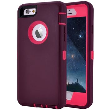 "Crosstreesports iPhone 6 Case iPhone 6s Case Heavy Duty Shockproof Series Case for iPhone 6/6S (4.7"")-V2 with Built-in Screen Protector Compatible with All US Carriers - Wine and Fuchsia"