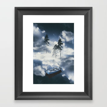 Forest sailing Framed Art Print by happymelvin