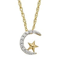 Diamond Petites 1/10 Carat T.W. Diamond 10k Gold Moon & Star Pendant Necklace (White)