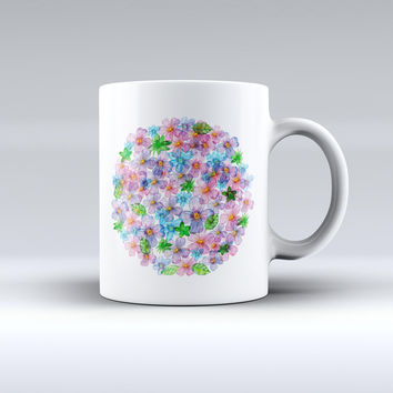The Rounded Flower Cluster ink-Fuzed Ceramic Coffee Mug