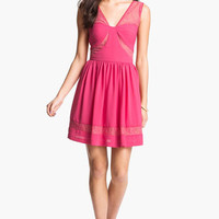 Max & Cleo Lace Inset Crepe Fit & Flare Dress | Nordstrom