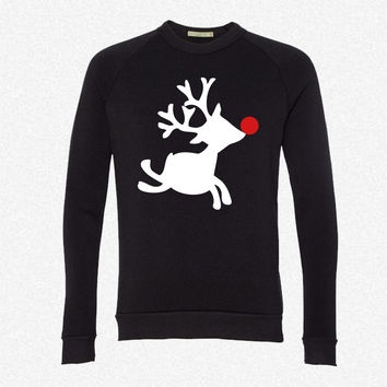 rudolph the red nosed reindeer right fleece crewneck sweatshirt