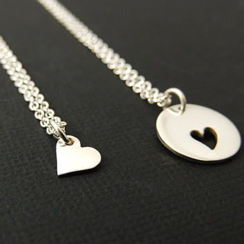 Mother Daughter Necklace.Heart Necklace Sterling Silver.Two Hearts Charm. Love New Mom.  Mother's Day Gift. Sisters.Mother Daughter Jewelry.