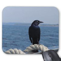 Black Bird on the Ferry Mouse Pad