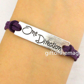 One Direction Charm Bracelet Antique silver-- cotton ropes bracelet--the best friendship gift.choose your favourite color 995