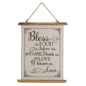 "Country Farmhouse Linen Scroll Wall Art ""Bless The Food"""