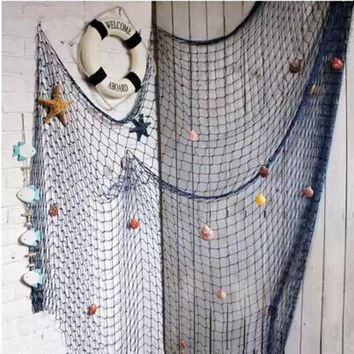DKF4S 1*2m,2*4m Blue/White Fishing Net,bar 3d wall decoration Nautical Home Decor for embroidery Mediterranean Style Sticker Crafts