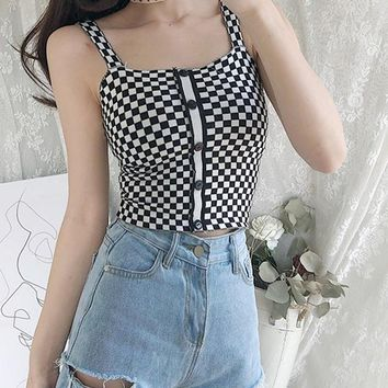 Summer New Knitted Camisole Female Tanks Plaid Sleeveless Short Slim Sexy Strapless Women Tops Tee