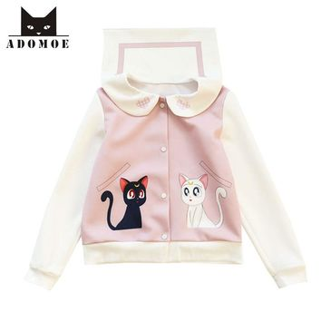2017 Autumn new Women Sailor Moon Kawaii Cat Jackets Sweet Girly Girl Cute Japan Harajuku Full Sleeve Sailor collar Short Tops