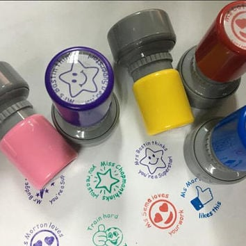Personalized Teacher Stamp set, Self Inking Stamp, Custom School Teacher Stamp, teacher christmas gifts,back go school stamp, Kids stamps