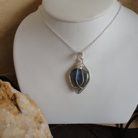 Blue Flash Labradorite --Gem Stone designer wire wrap necklace Sterling silver Pendant Sam Art Jewelry The Artisan Group