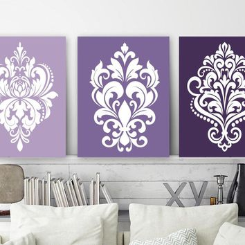 Purple Bedroom Decor, DAMASK Wall Art, {CANVAS or Prints, Purple Bathroom Decor, Purple Ombre Design Dorm Room Decor, Set of 3, Home Decor