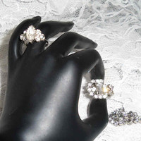 50s RHINESTONE RING EARRING  Set Vintage Glamor Jewlery Holiday Dazzle Dangle Earrings