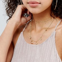 ASOS Multirow Fine Charm Layered Necklace at asos.com