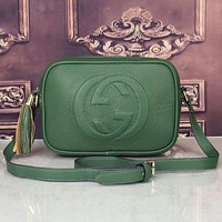 Gucci Fashion Women Pure Color Tassel Letter Leather Shoulder Bag Crossbody Satchel Green I