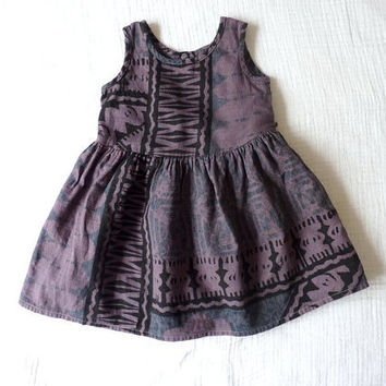 Vintage toddler dress 23T ikat like print Tie by LazerBabyVintage