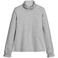 Girls Grey Cotton Rollneck Top & Diamante Trim