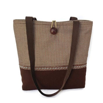 Brown handbag, Beige hand bag, Fall shoulder bag, Checked purse, City bag brown, Office tote bag, Fabric tote brown, Brown pocket book