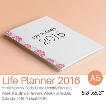 2016 PLANNER A5 Printable 2016 Filofax A5 Planner Inserts Weekly Monthly Yearly Calendar Dated Goal Planner Instant Download. 165 pages!